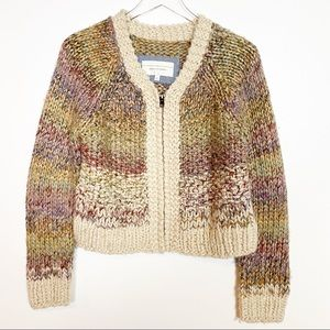 Anthro Angel of the North Multicolor Zipper Cardi